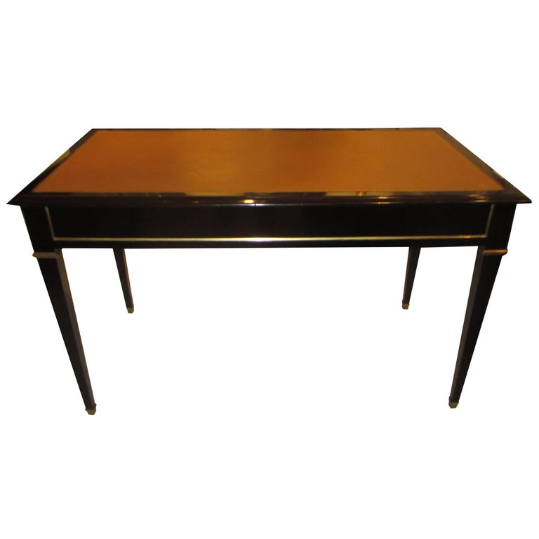 Ebonized Leather-Top Bronze-Mounted Bureauplat Desk