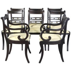 Set of Eight Ebonized Regency Style Dining Chairs