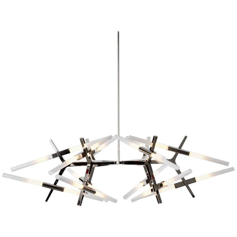 lindsey adelman x roll and hill polished nickel astral agnes 03 24 chandelier for sale at 1stdibs. Black Bedroom Furniture Sets. Home Design Ideas