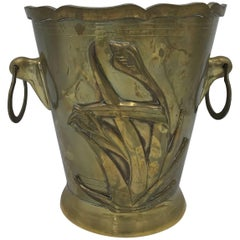 1970s Brass Waste Basket with Tulip Floral Motif and Handles