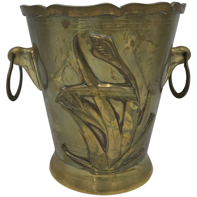 1970s Brass Waste Basket With Tulip Floral Motif And