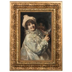 Antique Oil Painting Portrait of Two Women in Costume