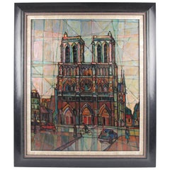 Oil on Canvas Painting by Cecil Steen, 1958 Cubist Notre Dame Cathedral Paris