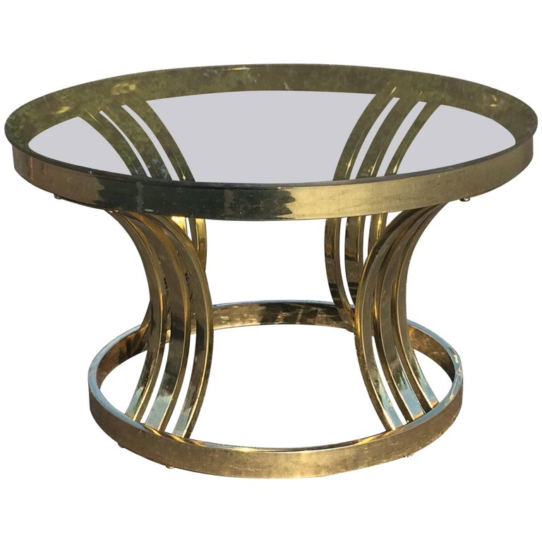 Mid-Century Brass and Smoked Glass Round Coffee Table by Milo Baughman
