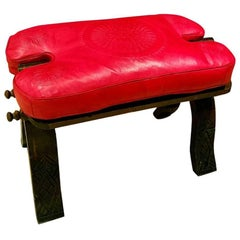 Handmade Moroccan Camel Saddle, All Red Cushion