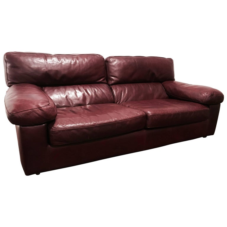 Roche Bobois French 1980s Oxblood Leather Sofa For