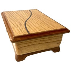 Handcrafted Solid Oak with Rosewood Inlay Jewelry Box