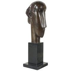 Modigliani Style Bust in Bronze