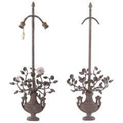 Pair of 20th Century Neoclassical Iron Sconces