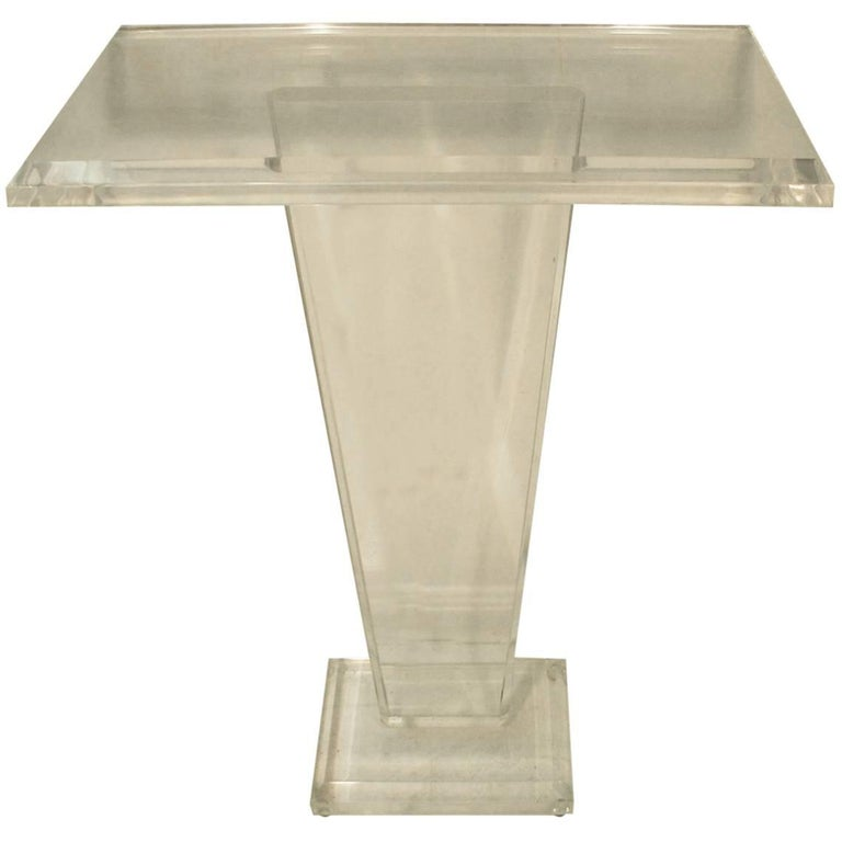 Midcentury Modern Lucite Beveled Pedestal
