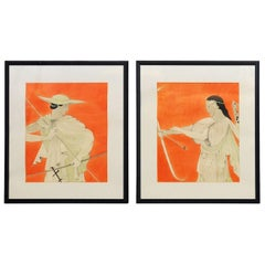 Pair of Watercolor Greco Roman Figures by J.E. Peters, circa 1935