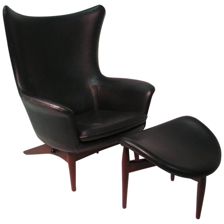 H. W. Klein Mid-Century Modern Reclining Leather Lounge Chair with Ottoman