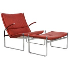 Preben Fabricius and Jorgen Kastholm Lounge Chair and Ottoman