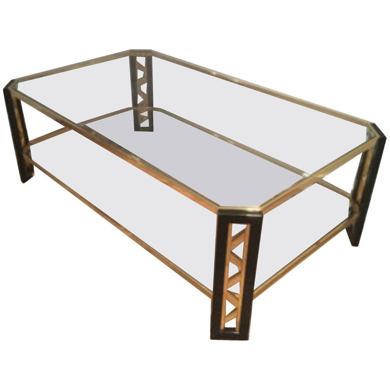 French Gold Coffee Table: Lucite And Gold Coffee Table, French, Circa 1970 At 1stdibs