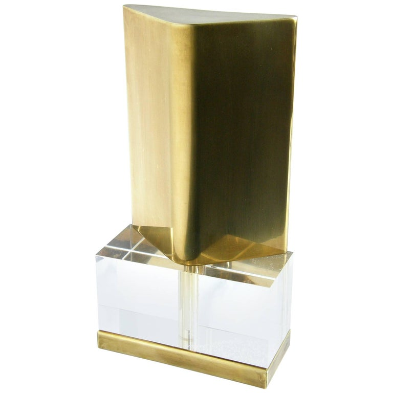 Chapman Lucite and Brass Reflector Lamp For Sale