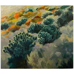 """Leucadendron Hillside"", Oil on Canvas, Artist Jenny Parsons, South Africa, 2013"