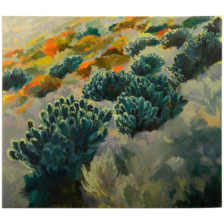 """Leucadendron Hillside"", Oil on Canvas, Artist Jenny Parsons, South Africa, 2013 For Sale"