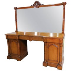 English Gothic Victorian Style Oak Sideboard Huntboard with Mirror
