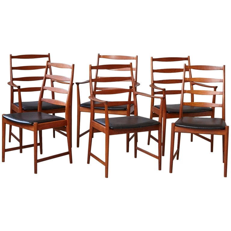 Set of Six High Back Dining Chairs by Arne Vodder for Vamo Sonderborg For Sale