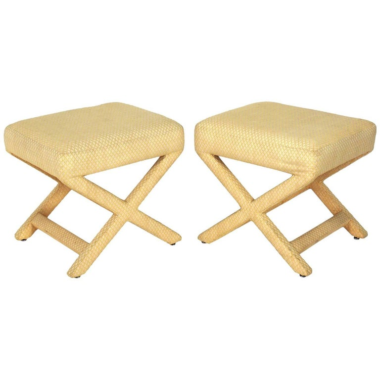 Pair of Upholstered X-Stools
