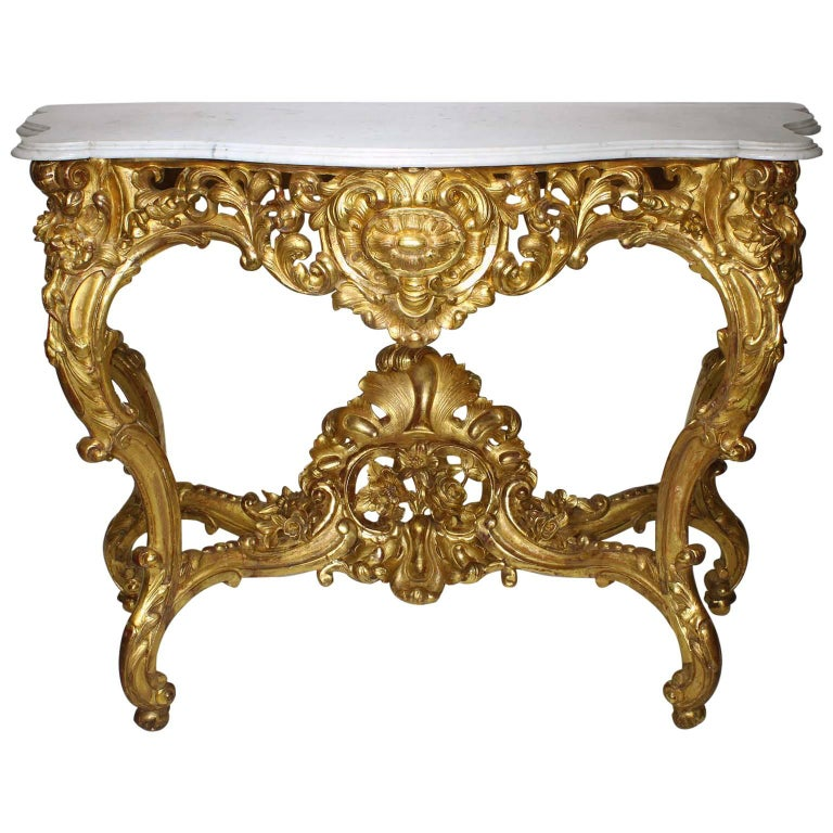 French Belle Époque 19th-20th Century, Louis XV Style Giltwood Carved Console