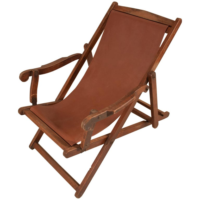 British Campaign Sling Lounge Chair For Sale