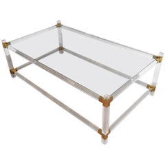 Lucite and Gilt Chrome Coffee Table