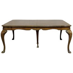 Queen Anne Style Burl Walnut Dining Table