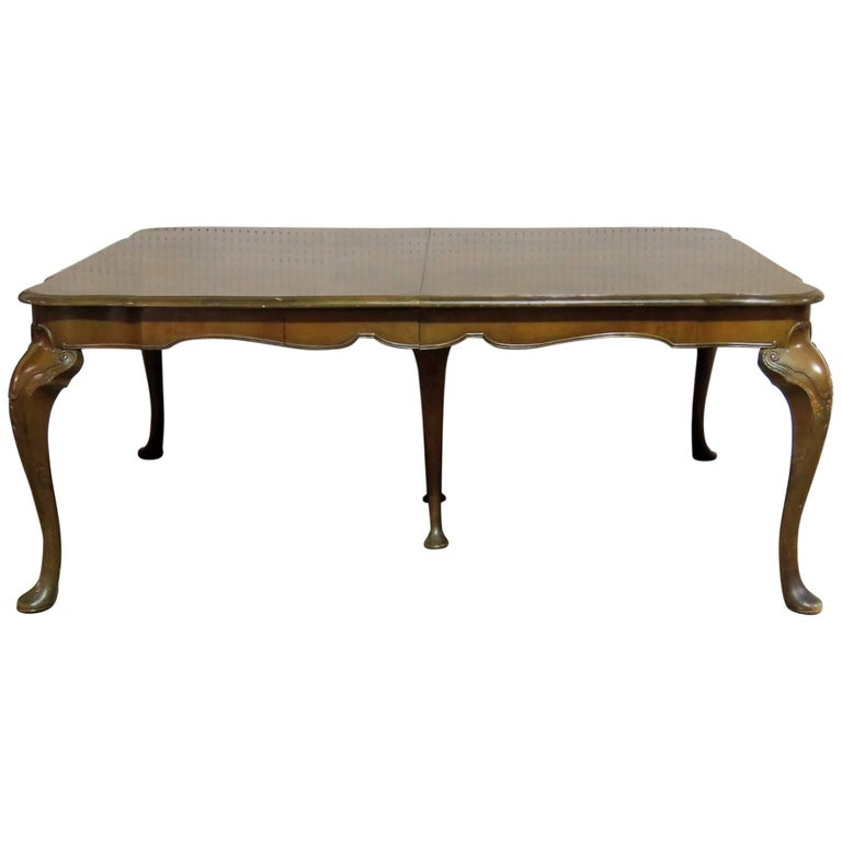 Queen Anne Style Burl Walnut Dining Table For