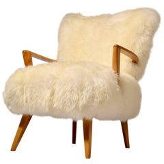 Sheepskin and Maple Heywood Wakefield Lounge Chair