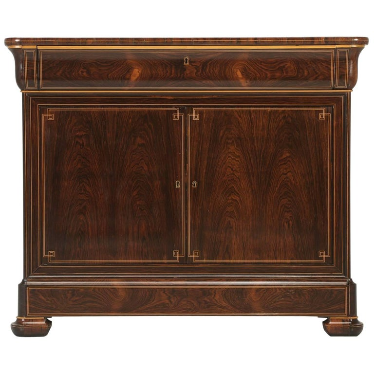 Antique French Commode/Buffet with Pull-Out Desk and Drawers in Rosewood