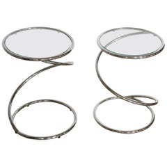 Pair of Chrome and Glass Spiral Side Tables