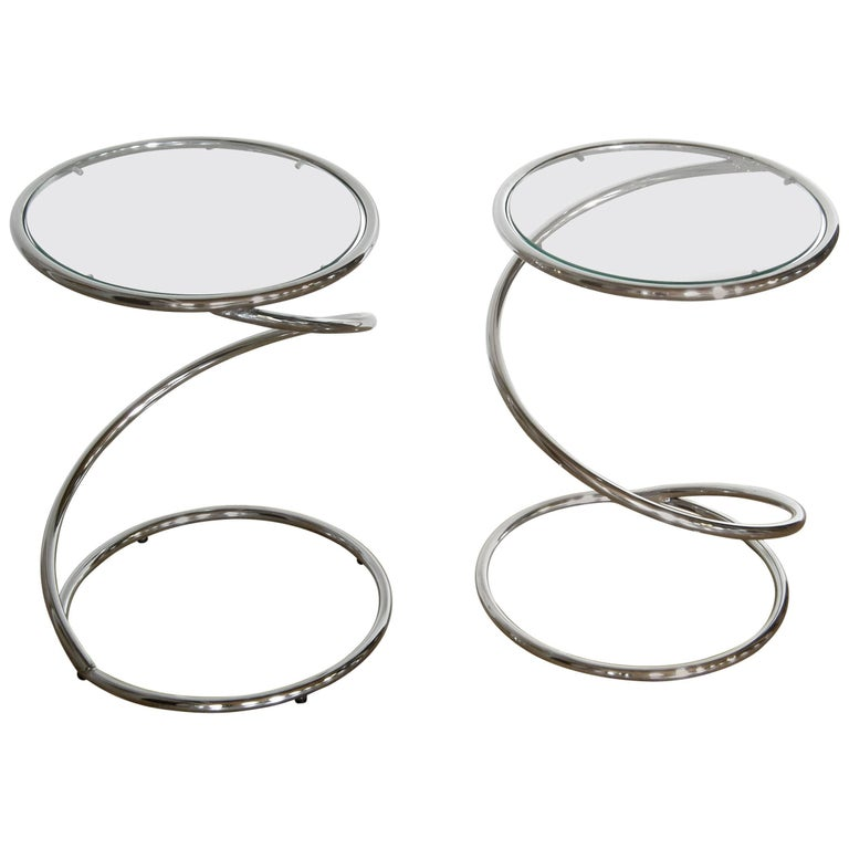 Pair of Chrome and Glass Spiral Side Tables 1