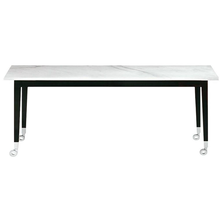 """""""Neoz"""" Carrara Marble Castored Table Designed by Philippe Starck for Driade"""