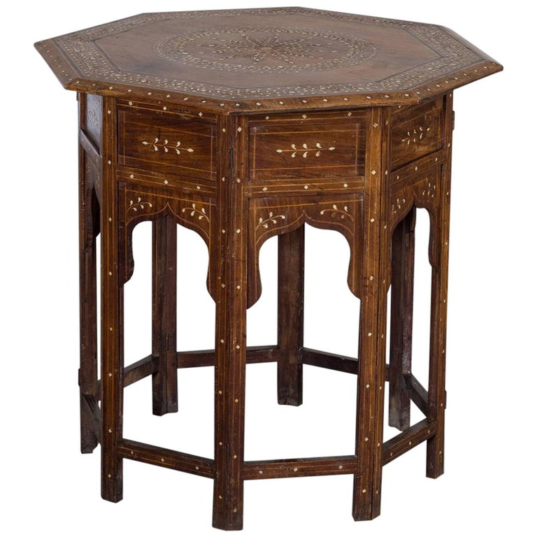 Antique Hoshiapur Inlaid Octagonal Indian Walnut Table