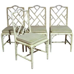Four Faux Bamboo Distressed Painted Side Chairs