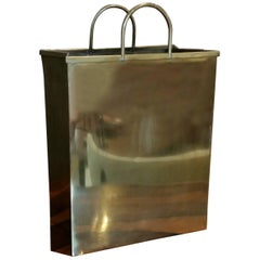 Glam Brushed Brass Shopping Bag Umbrella Stand by Sarreid, Ltd. Spain, 1970s