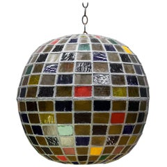 1950s Massive Bohemian Stained Lead Glass Entryway Pendant Lantern Globe