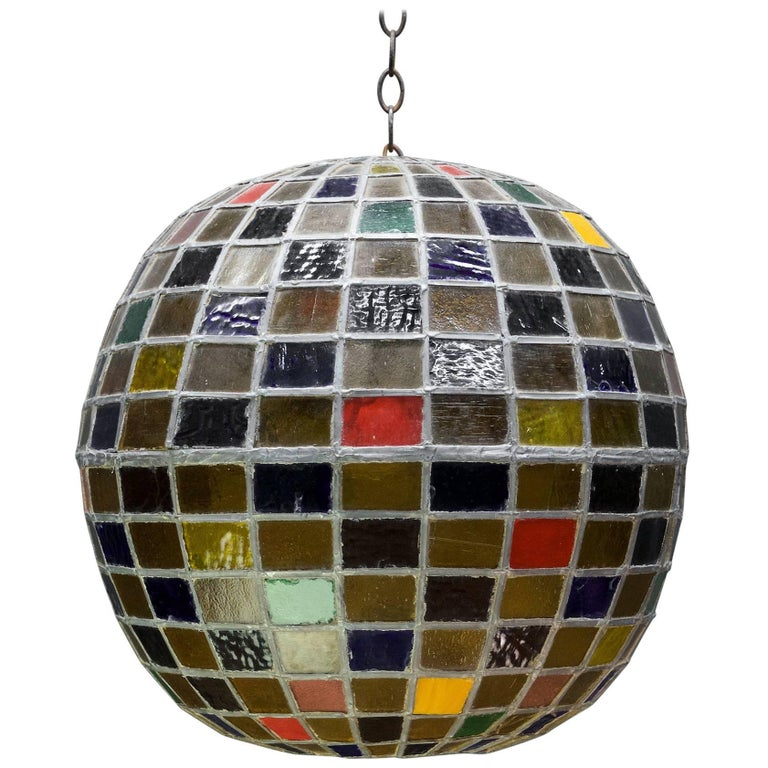1950s Massive Bohemian Stained Lead Glass Entryway Pendant Lantern Globe For Sale
