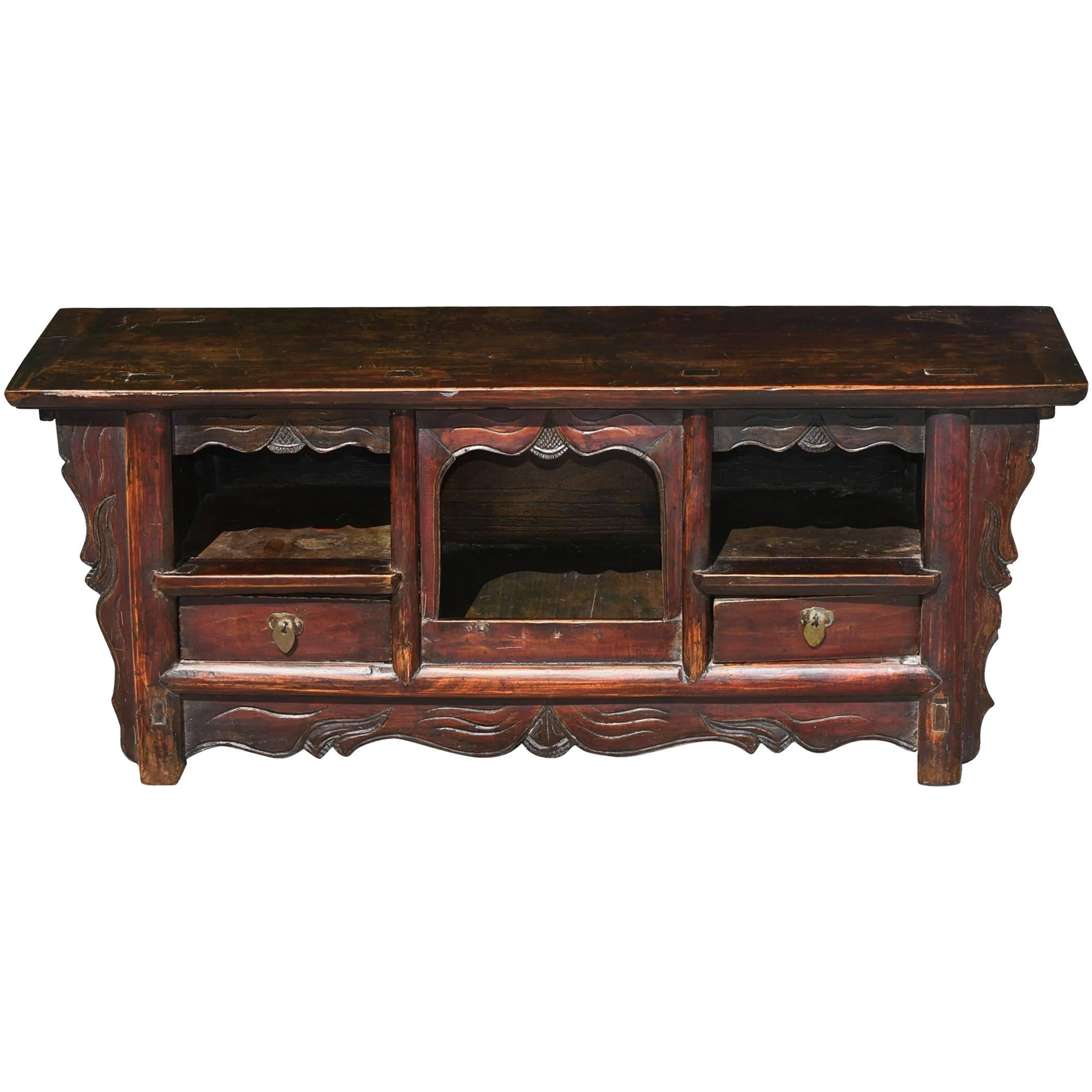 Chinese Antique Altar Table, Small Altar With Open Feature