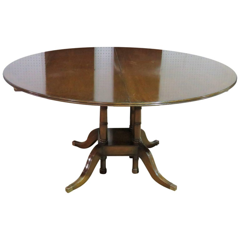 Custom Mahogany Round Banded Dining Table at 1stdibs : 8555323master from www.1stdibs.com size 768 x 768 jpeg 34kB
