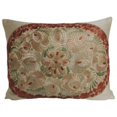 19th Century Russian Embroidery Floral Decorative Pillow