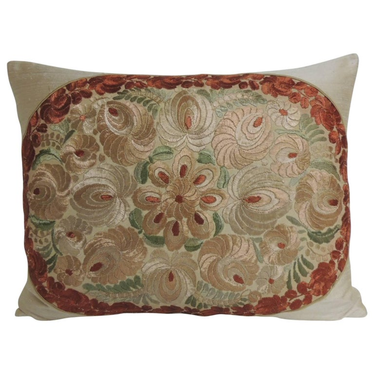 19th Century Orange and Red Silk Embroidery Floral Bolster Decorative Pillow For Sale