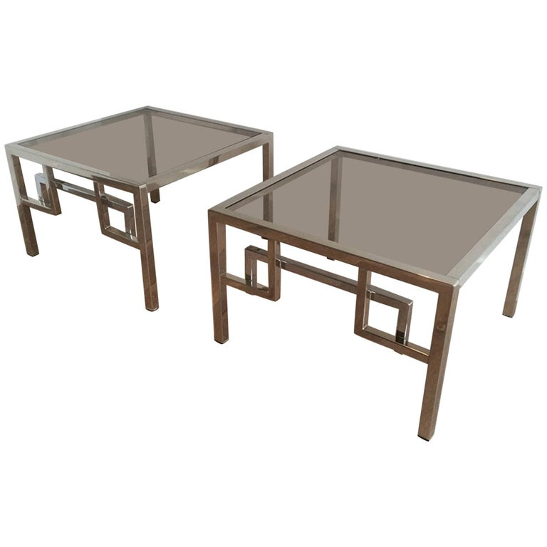 Pair Of Chrome Side Tables With Greek Key Design French Circa 1970 1
