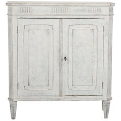 French White with Blue-Gray Undertones Two-Door Cabinet