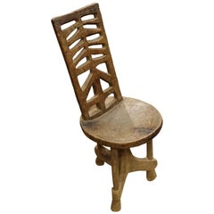 19th Century Ethiopian Wooden Chair, Africa
