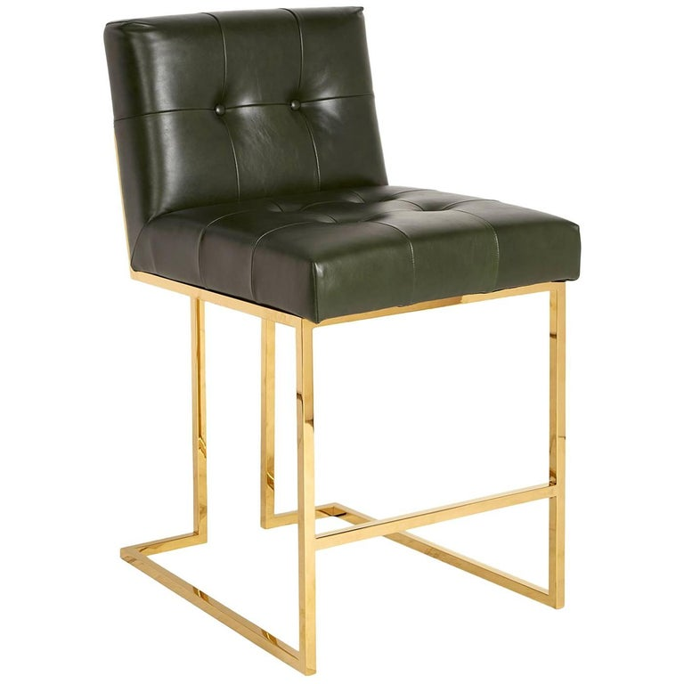 Goldfinger Leather and Brass Counter Stool