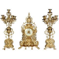 Large Antique French Gothic Clock Set, A D Mougin