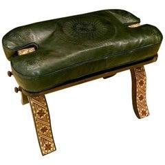 Handmade Moroccan Camel Saddle, Dark Grey Leather Cushion