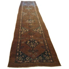 Antique Genuine Handwoven Hamadan Wool Runner Rug
